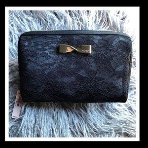 Victoria Secret Black Lace Gold Bow Cosmetic Case